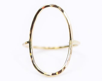 Large Open Circle Oval Ring / Oversized Oval Ring / Gift for Her / Graduation Gift / Simple Ring / Bold Jewelry / Handmade Ring