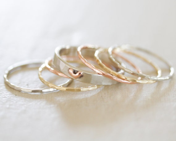 Valentines Gift Heart Stacking Rings Birthday Gift Wife Etsy