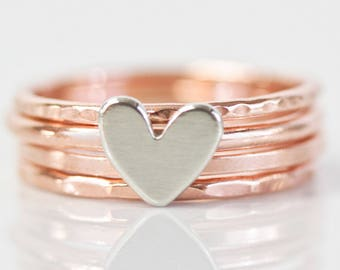 Stacking Rings / Heart / Birthday Gift / Stack Rings / Love Gift / Gift for Her / Wife Gift / Anniversary Gift / Stacking Ring Set