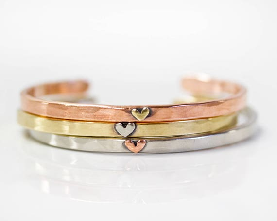 Birthday Gifts For Her Heart Stacking Cuff Best Friend Etsy
