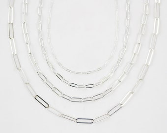 Sterling Silver Paperclip Necklace / Layering Necklace / Shape Jewelry / Christmas Gifts For Her / Paperclip Jewelry / Handmade