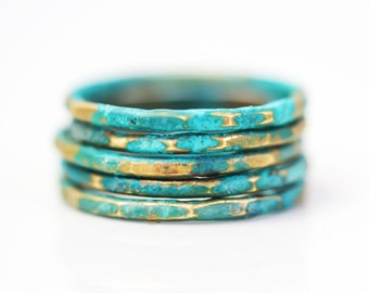 Patina Ring, Stacking Ring, Patina Jewelry, Mint Jewelry, Green Ring, Stackable Rings, Colorful Stacking Ring, Gifts for Her