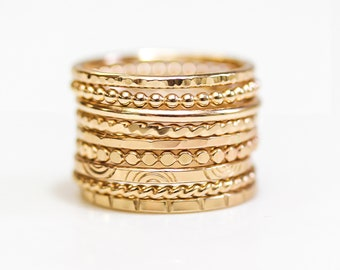 Textured Stacking Rings / Stacking Rings / Gift For Her / Mothers Day Gift / Gold or Silver Stacking Rings / Simple Rings / Textured Rings