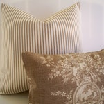 French Country Toile Pillow Waverly Floral Tan Waverly Country House Toile Linen BOTH SIDES 0