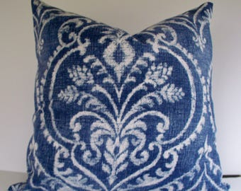 Denim Blue Ikat Pillow Cover, Blue White Pillow Cover, Blue White Pillow Cover, Dalusio Damask Denim 0