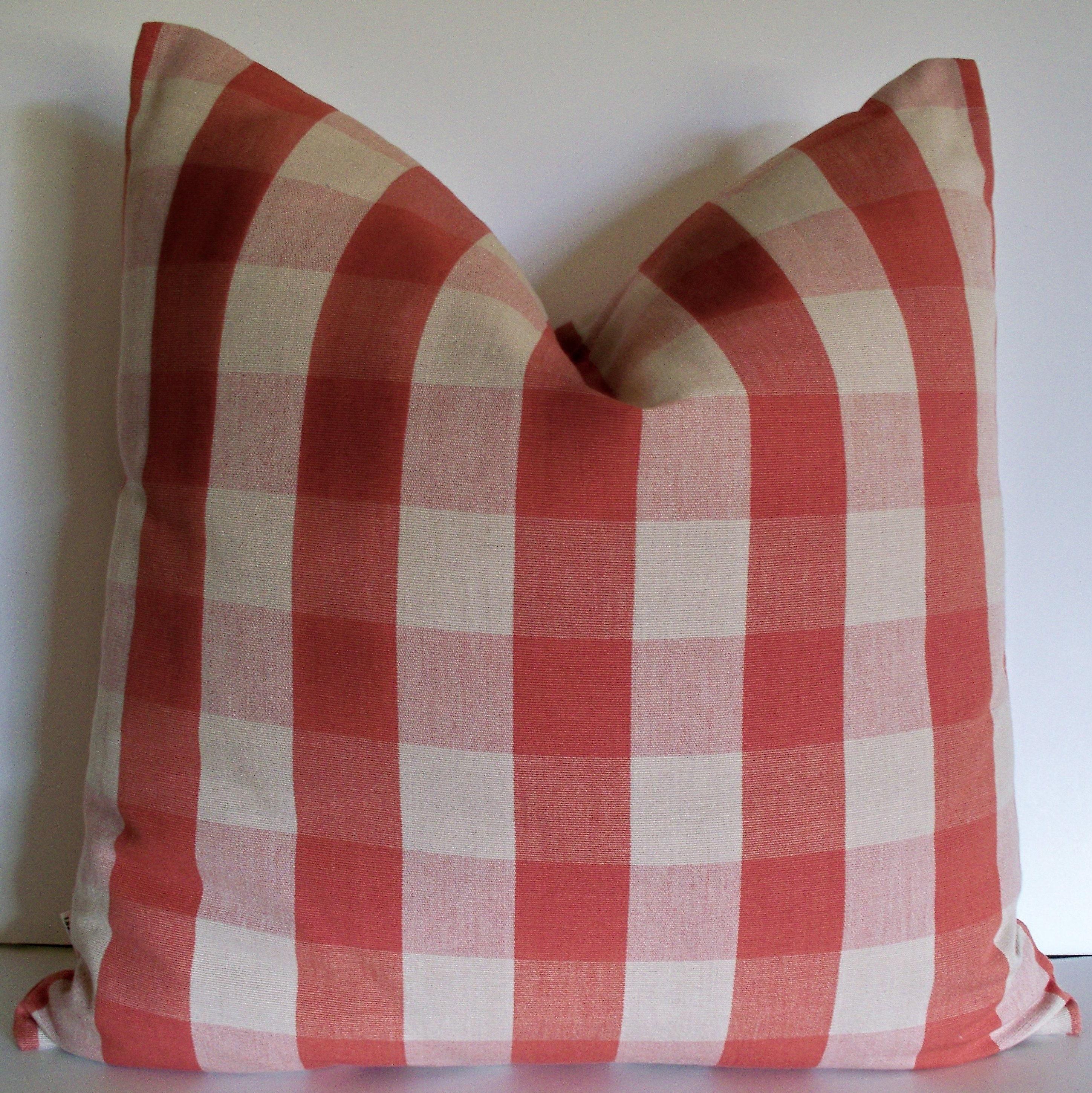 Orange Pillow Cover Burnt Orange Check Pillow Fall Decor Red Etsy