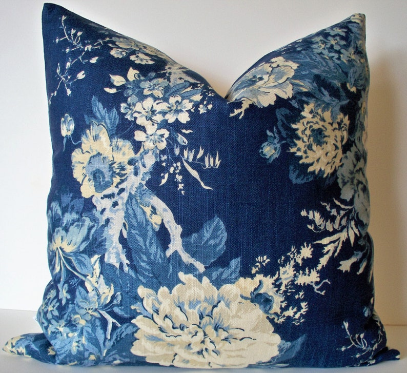 Blue Floral Pillow Cover French Country Blue Blue Farmhouse Etsy