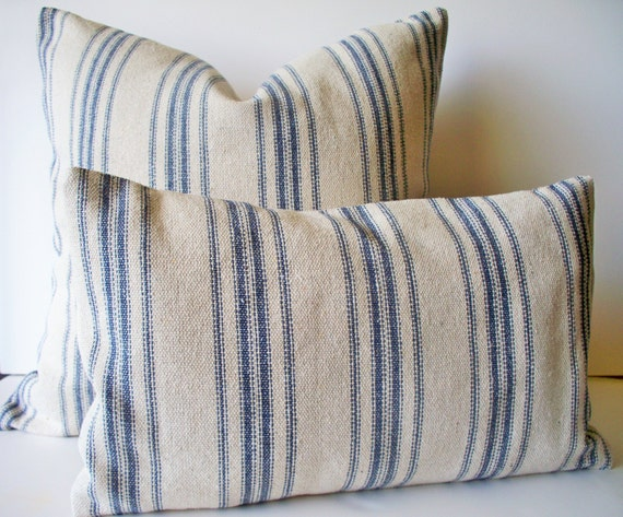 Grain Sack Pillow Cover Blue Farmhouse Pillow Blue Cottage Etsy Mesmerizing Grain Sack Pillow Covers