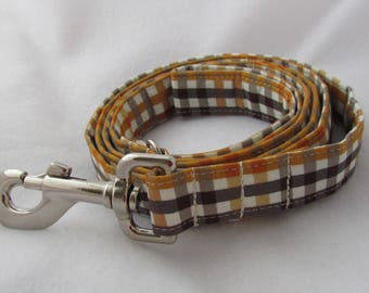 Dog Leash / brown checked collar / 5 ft / Cotton leash