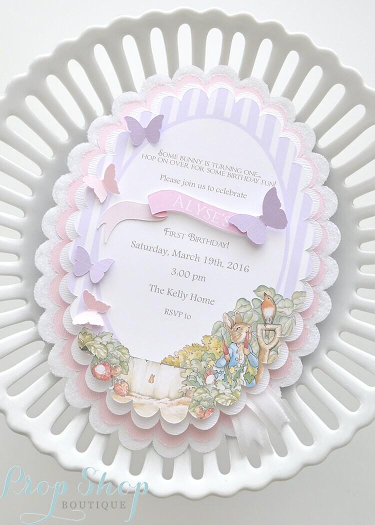 Girl\'s Peter Rabbit Butterfly Birthday Invitation   Etsy