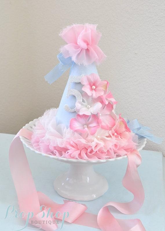 Brilliant Girls Flower Garden Shabby Chic Birthday Party Hat First Etsy Personalised Birthday Cards Cominlily Jamesorg