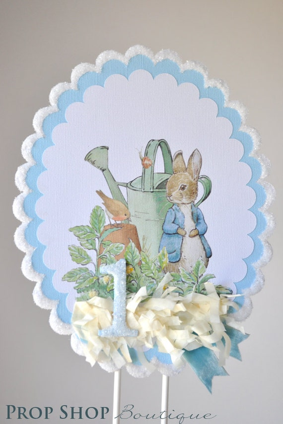Admirable Peter Rabbit Birthday Cake Topper Centerpiece Etsy Birthday Cards Printable Trancafe Filternl