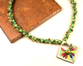 KUMIHIMO Necklace Floral Green Yellow Mary Harding Pendant Gift for Her Birthday Anniversary Mother's Day Nature Necklace Toggle Clasp