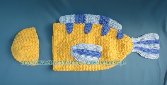 & Fish Disney Costume for Baby Flounder Cocoon and Hat set