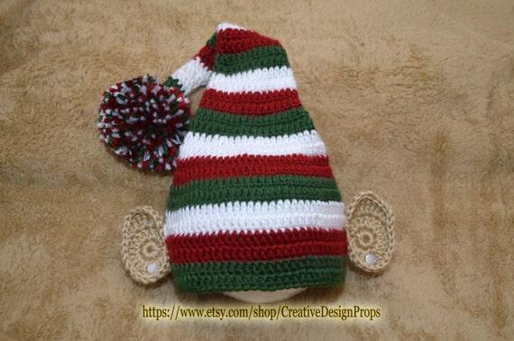1a5570954a546 Christmas stocking Elf hat with big Pom Pom and Elf Ears