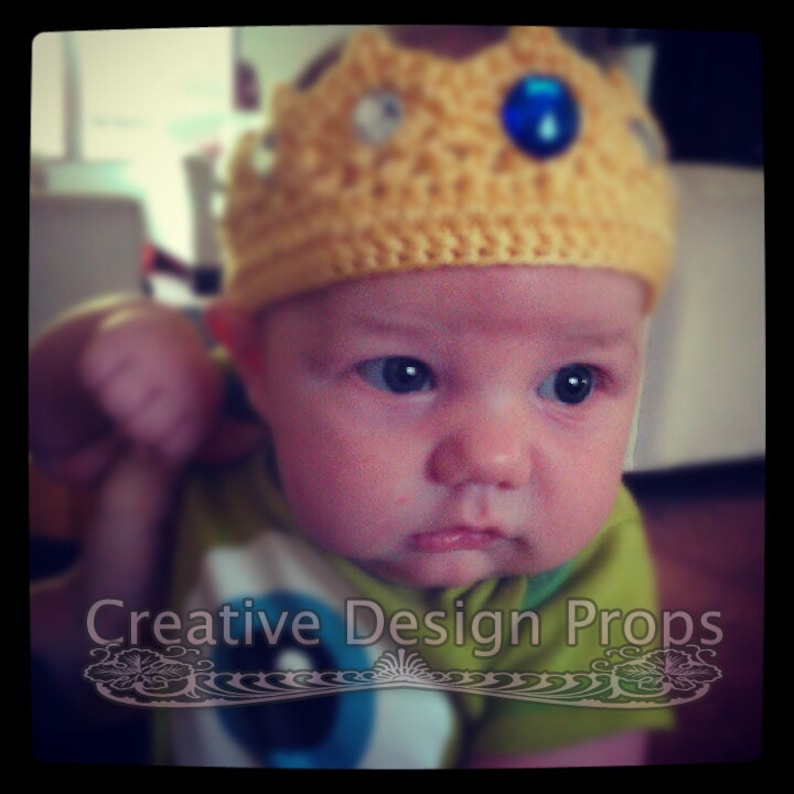 Crochet Baby Prince Crown Ecxellent Photo Prop or Wonderful Gift for Baby Shower Handmade Infant Tiara with Rhinstone Gems