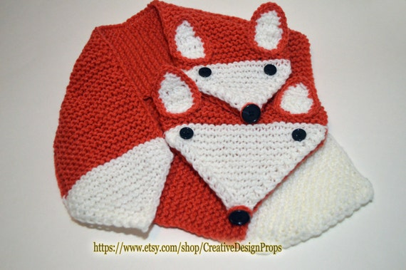 c426566c99d0b4 Knitted What Does The Fox Say Orange Animal Scarf Pull | Etsy