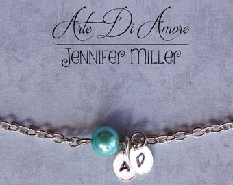 Something Blue Anklet Initials and Bead Wedding Anklet or Bracelet Stainless Steel with 3 Blue Options