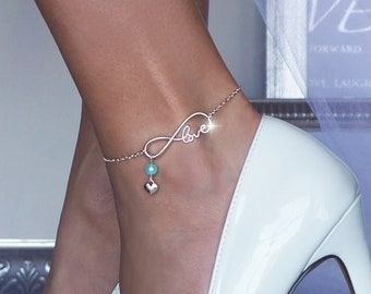 Something Blue Infinite Love Chain Wedding Anklet or Bracelet with 3 Blue Options