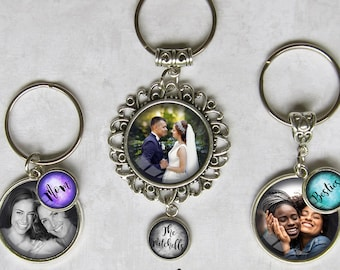 Custom Photo and Text Keychains, 3 Styles