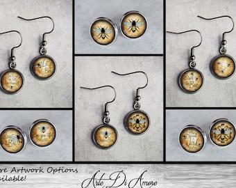 Bees, 10 Artwork Options, Stainless Steel Earrings, Cuff links