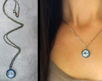 Something Blue, 65 Artwork Options, Stainless Steel Dainty Necklace