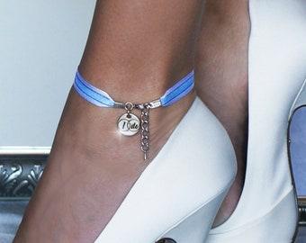 "Something Blue ""I Do"" Ribbon Wedding Anklet or Bracelet with 20 Ribbon Options"