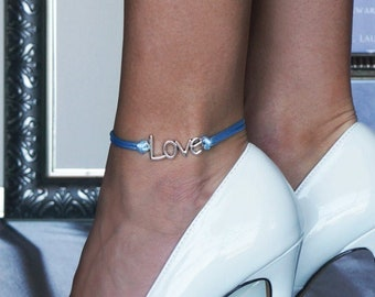 """Something Blue """"Love"""" Cord Wedding Anklet or Bracelet with 20 Ribbon Options"""