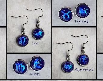 Astrology, 24 Artwork Options, Stainless Steel Earrings, Cuff links