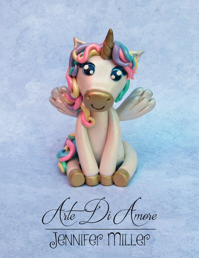 Unicorn and Rainbow Figurine Cake Topper | Etsy