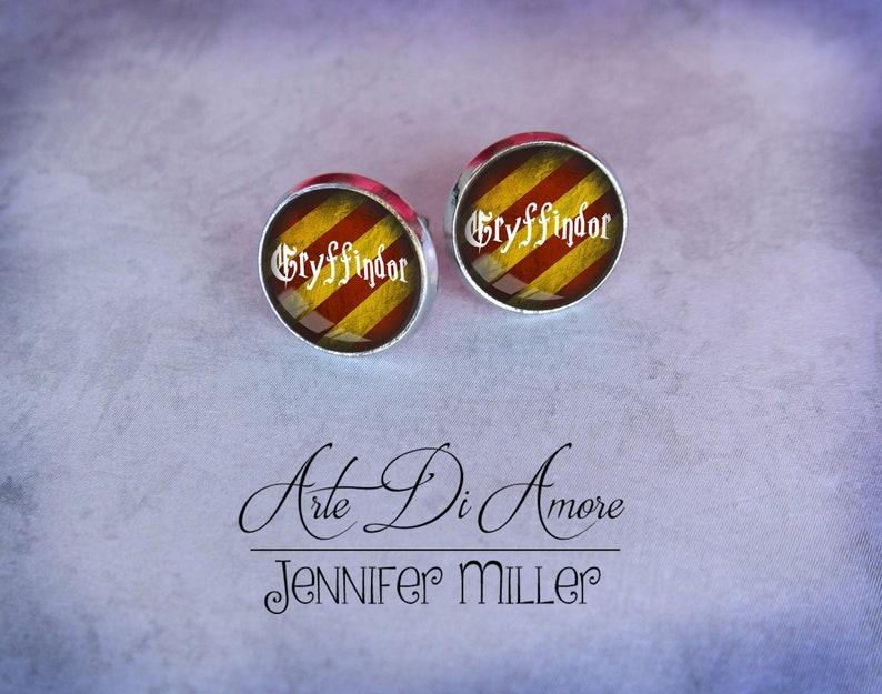 Gryffindor Inspired Stainless Steel Stud or Dangle Earrings or image 0
