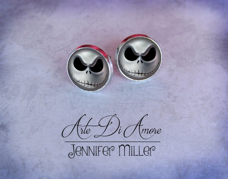 Jack Skellington Stainless Steel Stud or Dangle Earrings or image 0