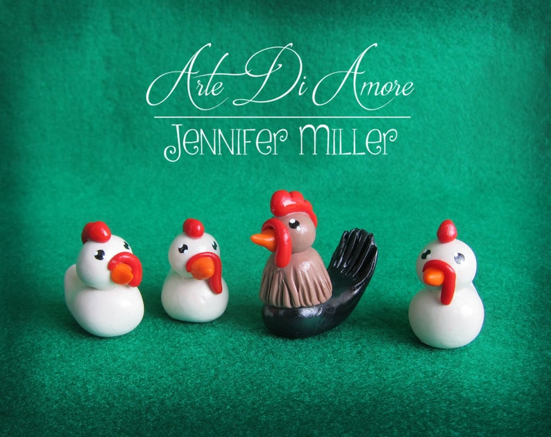 Chickens and Rooster Figurine Cake Topper image 0