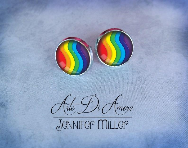 Rainbow Stainless Steel Stud or Dangle Earrings or Cufflinks image 0