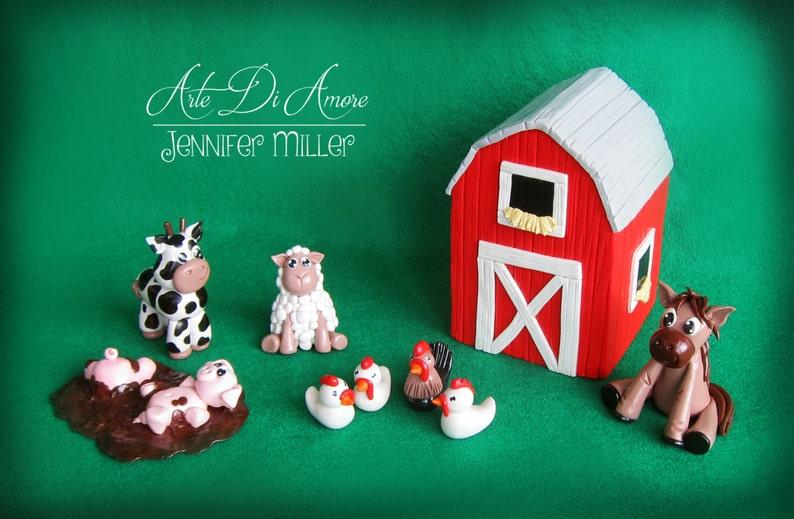 Farm  Figurine Cake Topper Set image 0