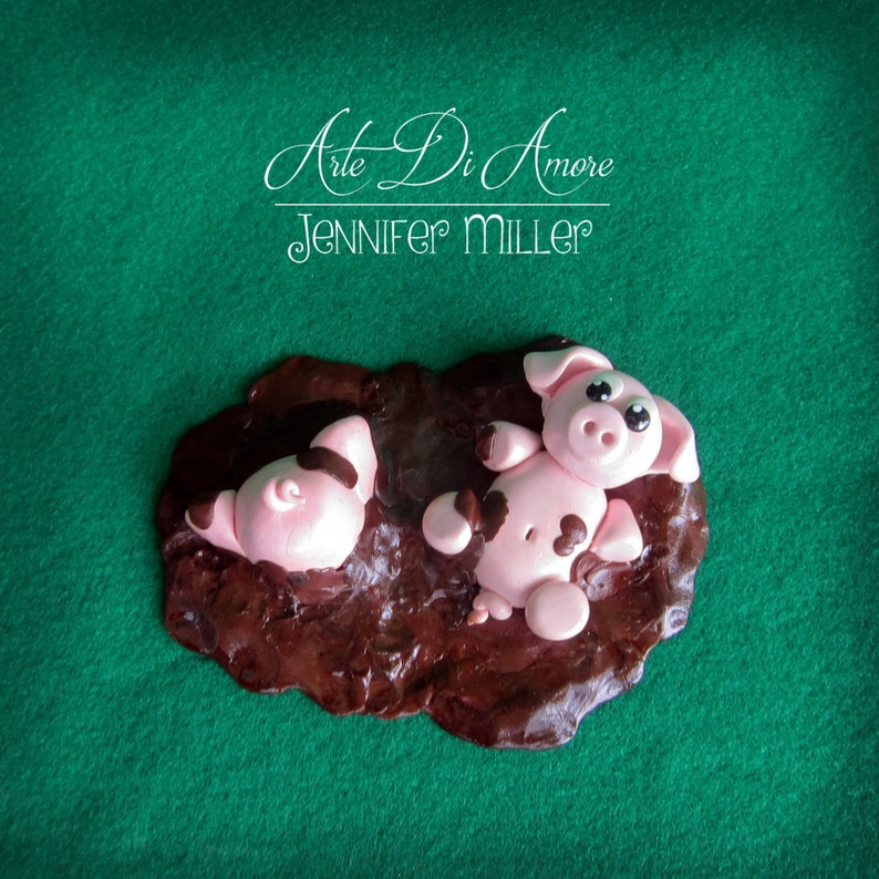 Two Pigs in Mud Figurine Cake Topper image 0