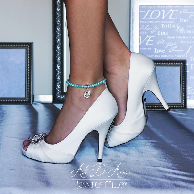 Something Blue Pearl Wedding Anklet or Bracelet with 3 Blue image 0