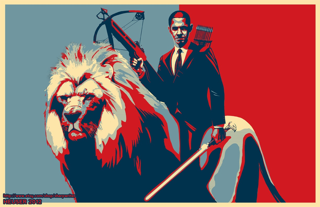 Obama Riding a Lion Poster 24x36 EPIC SIZE Poster Red, White and Blue