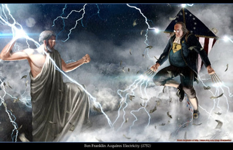 Ben Franklin vs. Zeus 5.5x8.5' 4pack Cards image 0