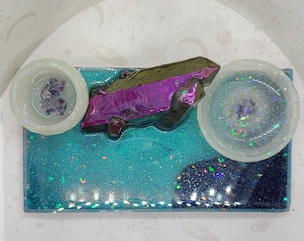 Amethyst and Resin Crystal altar decor with bowl and dish witch supplies
