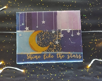 Shine Like the Stars paper collage, paint, Resin wall art