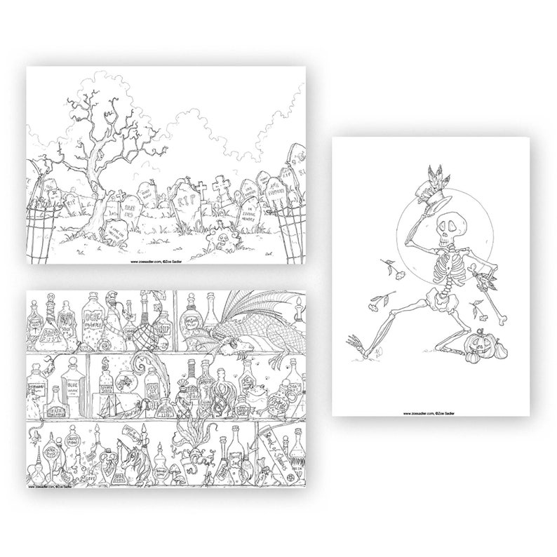 Witches and Black Magic by Zoe Sadler Halloween Coloring-in Sheets Bundle