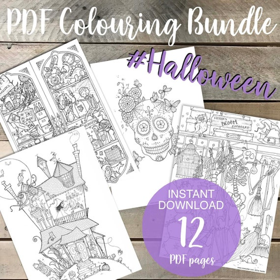 Halloween Coloring-in Sheets Bundle Witches and Black Magic