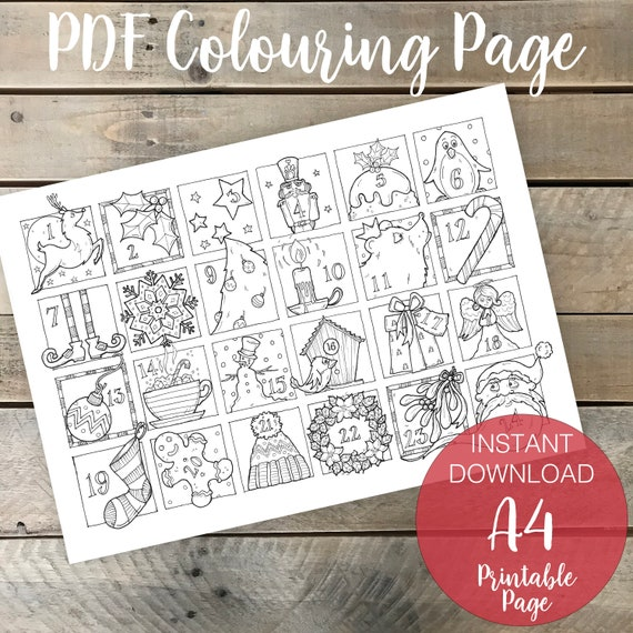 Christmas Advent Calendar A4 Printable Coloring Page