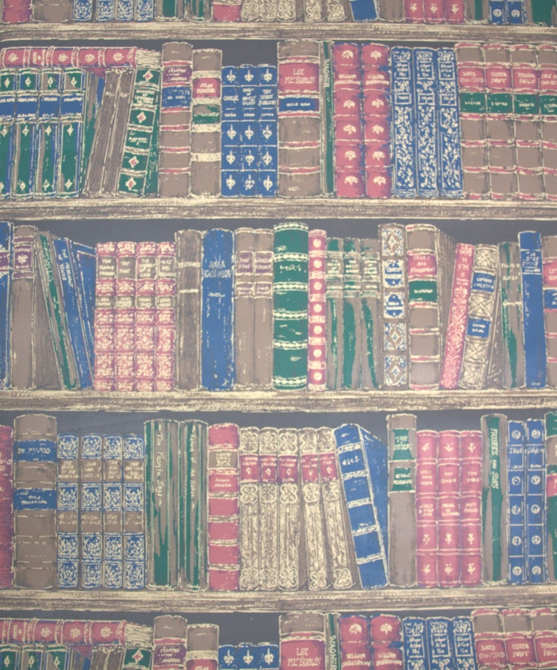 Retro Wallpaper by the yard 90s Vintage Wallpaper - 1990s Books on Shelves,  Blue Burgundy Green and Brown Library