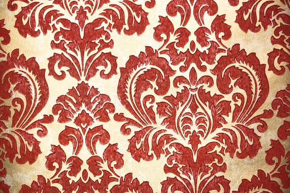 Retro Wallpaper By The Yard 70s Vintage Wallpaper 1970s Persimmon Damask On Metalic Gold