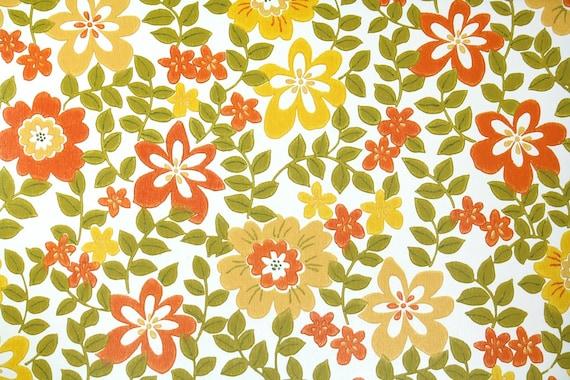 70er Vintage Papier Peint Rétro papier peint rôle Fleurs Pétales Wallpaper 60er 1//8 11