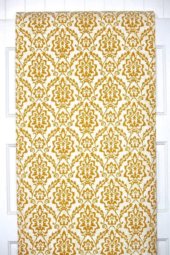 Retro Tapete Flock Meterware 70er Jahre Vintage Wallpaper - 1970er Jahre  Kupfer Flock Damast auf weiß