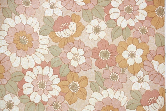 Retro Vintage Wallpaper By The Yard 70s Floral Vintage Wallpaper Retro 1970s Floral Vintage Wallpaper Pink Orange And Cream Flowers