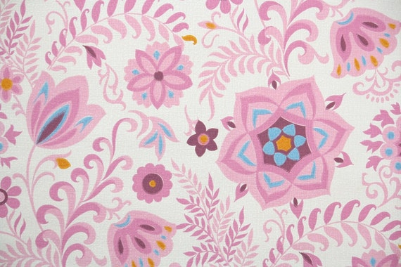 Retro Wallpaper By The Yard 60s Vintage Wallpaper 1960s Pink Blue And Orange Floral On White